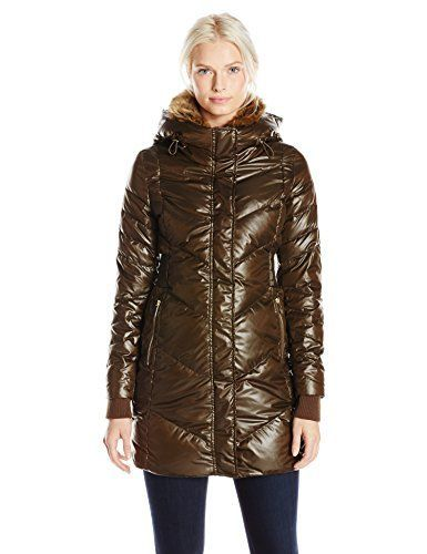 French Connection Womens Down Coat with Faux Fur Collar Turtle XLarge *** You can get more details by clicking on the image.