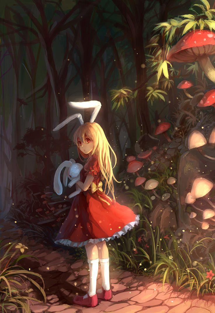 alice in wounderland anime   anime,art,beautiful pictures,girl,Alice in Wonderland,mushroom,bunny ...