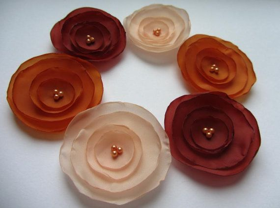 Fabric flowers Silk flowers Wholesale flowers Coral by MurisAndAJ, $7.20