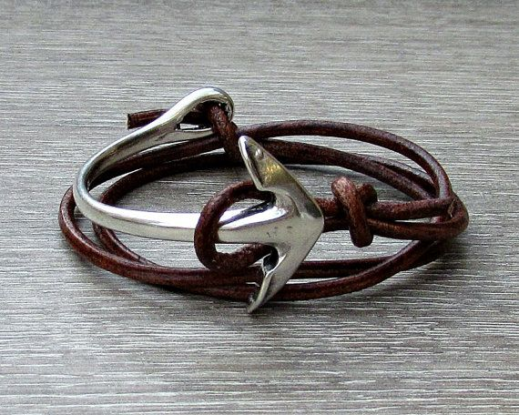 Anchor wrap Bracelet  Hook Leather Bracelet Mens by GUSFREE