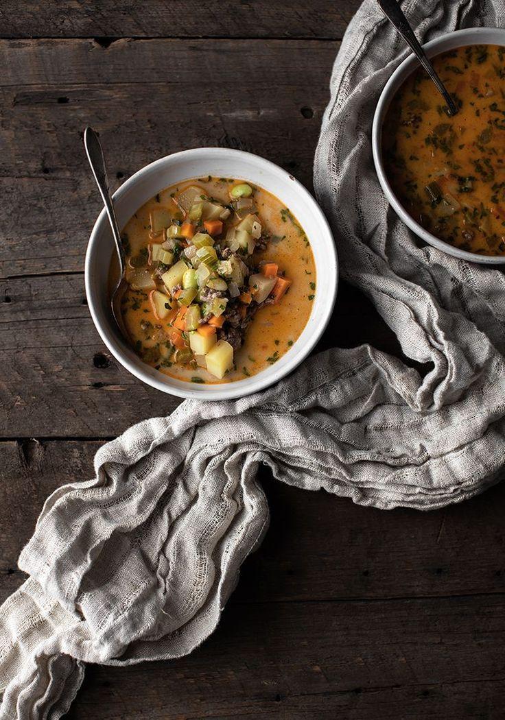 Soupe-repas au bœuf haché, aux légumes et au yogourt - Recette - Trois fois par jour