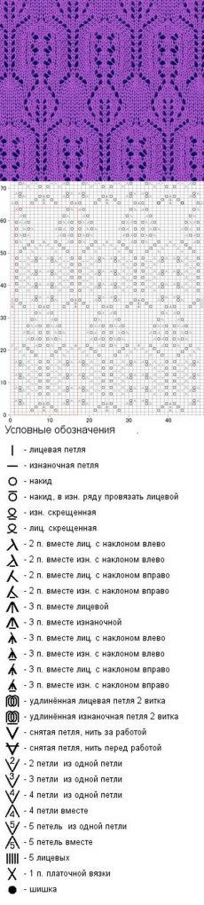 № 183 Вязание спицами японского ажурного узора
