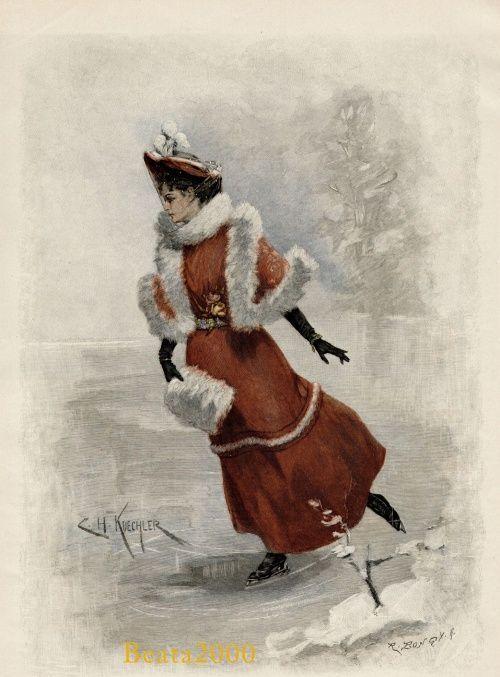 Новогодняя открытка катание на коньках