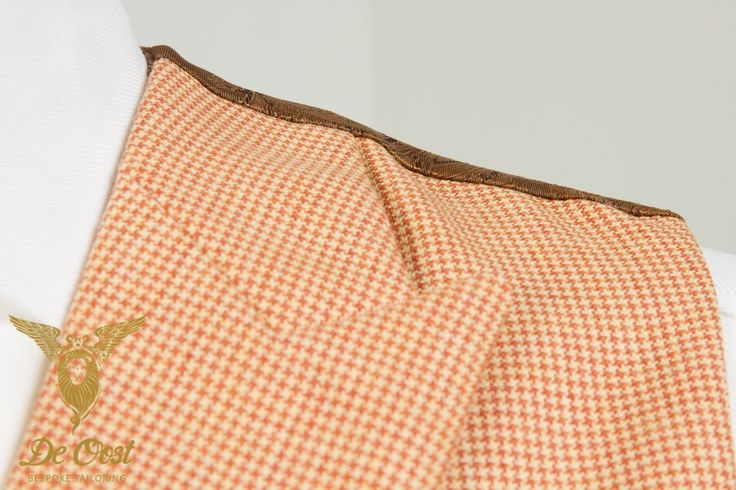 Herringbone Jacket with Houndstooth waistcoat. Have a closer look at the fabrics. Waistcoat: Peach Contrast Puppy Tooth - Holland & Sherry HS1333A - Crispaire
