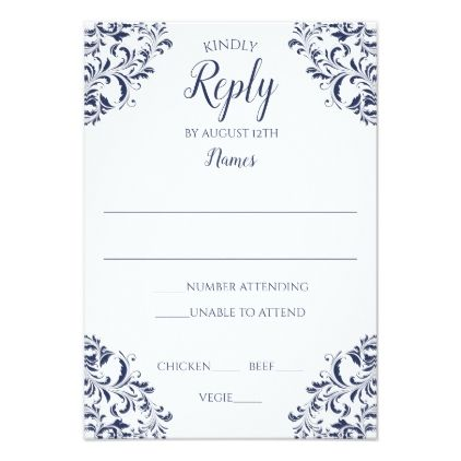 Elegant Vintage Reply Card - Nadine (Navy Blue) - reply diy cyo unique personalize customize