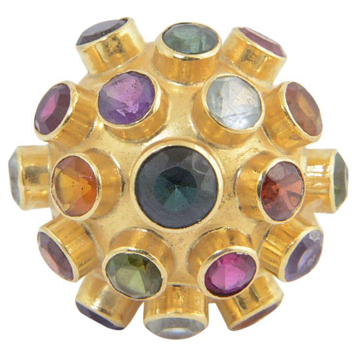Gemstone Sputnik Gold Dome Ring