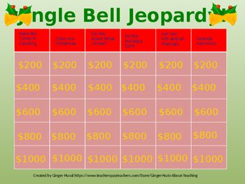 Ho! Ho! Ho!  Time to play Jingle Bell Jeopardy, a fun interactive Christmas trivia game!  Students will learn about holiday customs and traditions.  As a bonus, helpful hints are included.  The categories include:  1.  Here We Come A-Caroling 2.  Color Me Christmas 3.