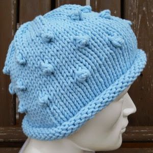 The cute bobble stitch adds an interesting element to this otherwise basic knit hat pattern.