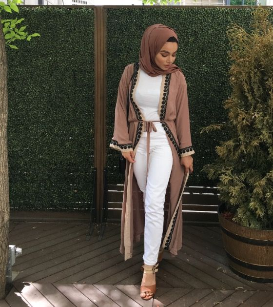Dark beige open abaya with lace – check out: Esma …