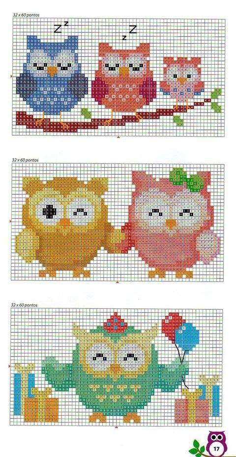 Owls perler bead pattern - can be used for cross stitching too !