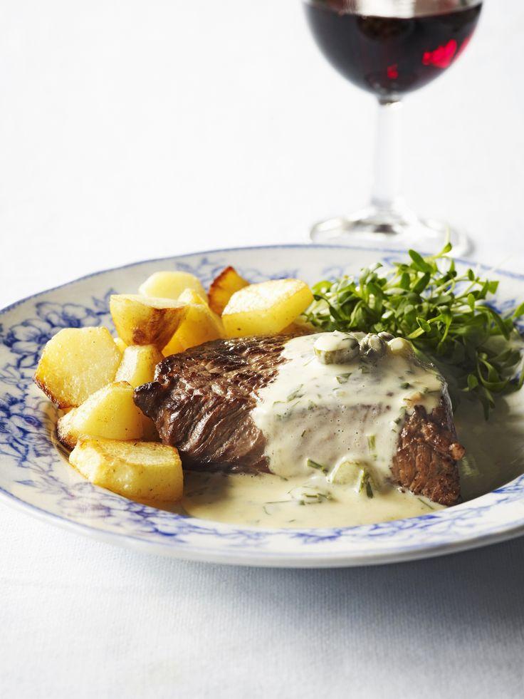 Biefstuk met een sausje van groene kruiden   Lekker van bij ons