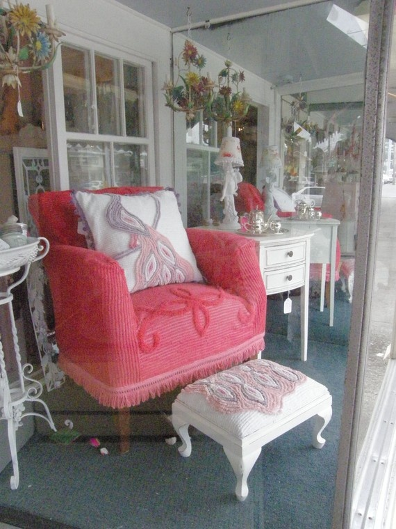 Pink chenille: Ideas, Chairs, Cottage, Decorating, Chenille Bedspread, Chenille Chair