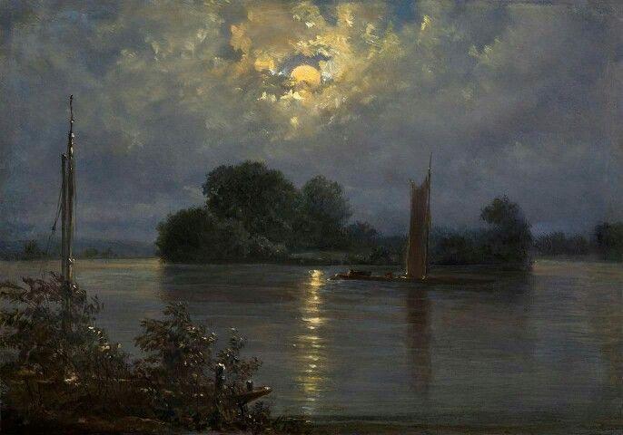 """Carl Gustav Carus (1789-1869), """"Insel bei Pillnitz Island at Pillnitz or Full…"""