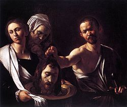 Salome with the head of John the Baptist----by Caravaggio---c. 1607