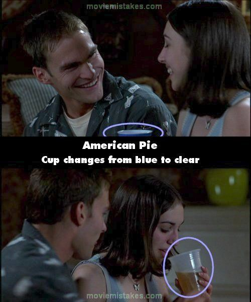 American Pie mistake picture-top pic shows beer clear glass & then it changes to a blue cup.