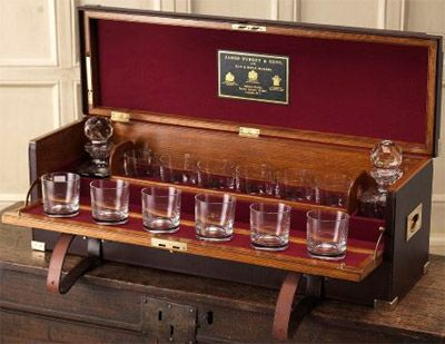 purdey hand made oak framed leather covered portable drinks cabinet