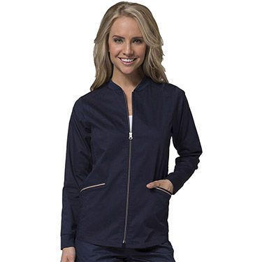 Crisp and professional, the PrimaFlex by Maevn Women's Zip Front Warm-Up Solid Scrub Jacket will make a great impression in any setting. Double needle stitching and a two-toned zip front give this sleek layer a stylish and sporty look.