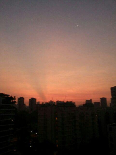 beautiful orange sky on sunrising moment