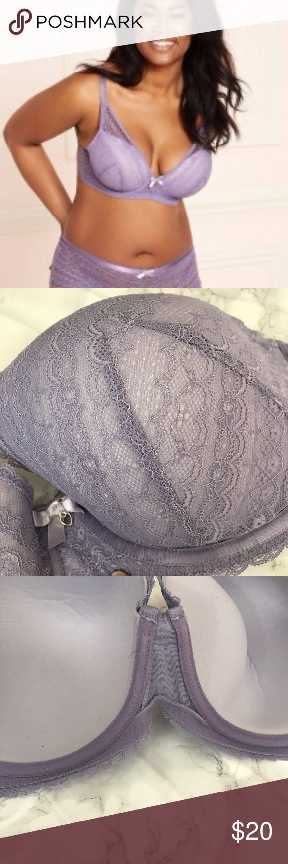 Astra Contour Plus Contour plunge Underwired Triple row hook & eye closure Nylon / Polyester / Spandex Nylon / Spandex Heirloom lilac Lace overlay with bow & heart charm detail  Wore this maybe 1-2 times lounging at home. Too big for me adore me Intimates & Sleepwear Bras
