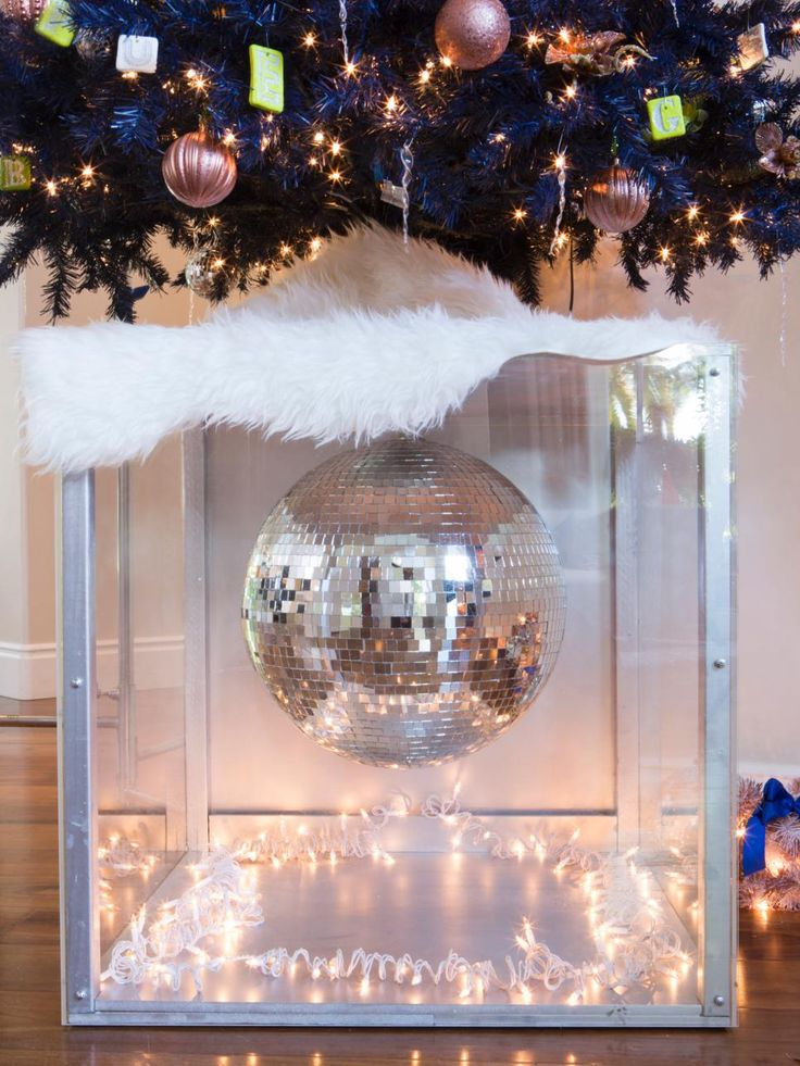 Disco balls & white fur!
