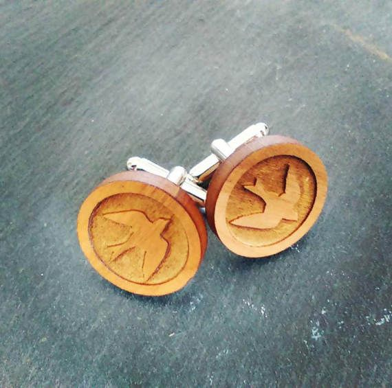 Cuff Links   Customised Laser Cut Birds by LillyDillys on Etsy