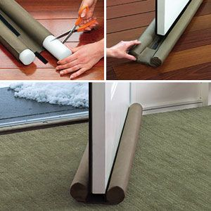 """EXTREME DOOR GUARD  Product Code # HD60220  $24.98 CAD - This insulated device makes heating and cooling your home more efficient!  Large 2"""" diameter foam tubes block large gaps under doors, even when closed, to block drafts, noise, dust, insects and odours. Keeps warm air in during the winter, and cool air inside in the summer. Rugged twill cover is machine washable and easily glides over carpet, wood, tile and linoleum floors.  Fits doors up to 36"""" wide and 2"""" thick."""