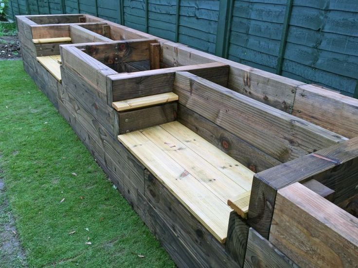 Raised beds with bench seats and arm wrest; backyard fire pit designs