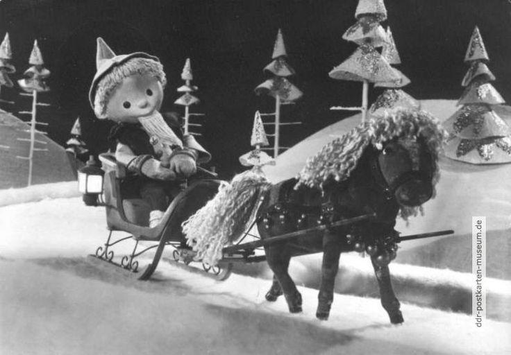 1967, Sandmännchen mit Pferdeschlitten im Märchenwald