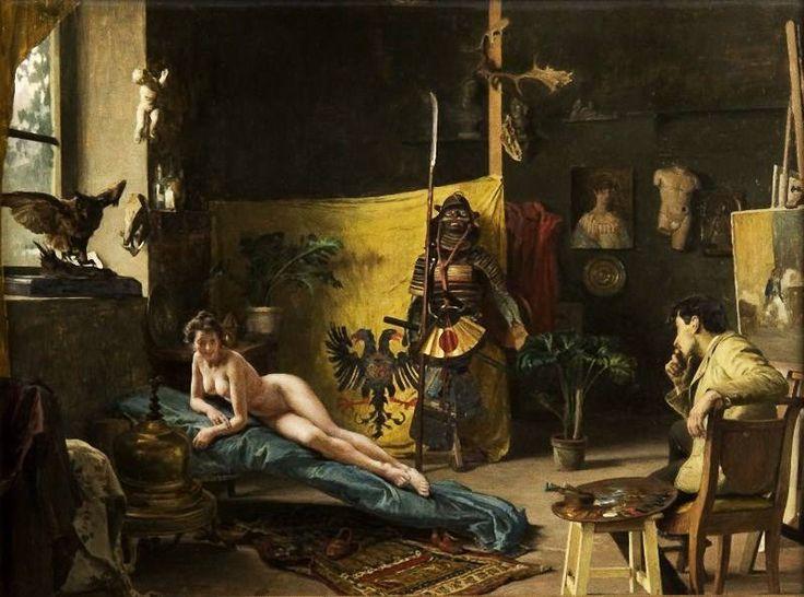 """Giovanni Battista Quadrone  """" Il pittore e la modella - In cerca del soggetto"""""""