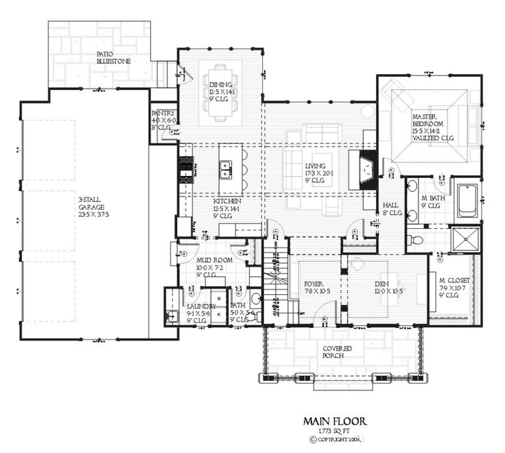Craftsman Style House Plan - 4 Beds 3.5 Baths 2609 Sq/Ft Plan #901-67 Floor Plan - Main Floor Plan - Houseplans.com