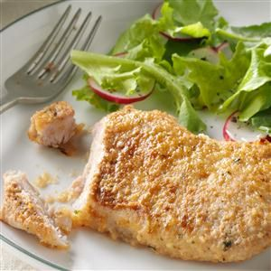 Busy-Day Pork Chops Recipe -Dee Maltby of Wayne, Ohio  developed this recipe one day when she had thawed pork chops and needed to find a quick fix for them. It's extremely simple and the response was a rave review!