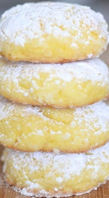 Lemon Gooey Butter Cookies. Only six ingredients. These will melt in your mouth!