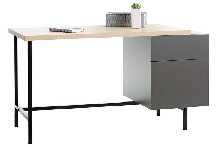 Työpöytä AGGERSBORG tammi/harmaa | JYSK