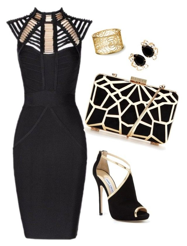 """All black : gold"" by devarahma on Polyvore featuring Posh Girl, Jimmy Choo and Bounkit"