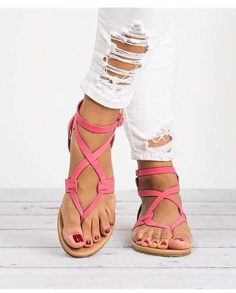 cddb76b70a7c Summer Casual Beach Rome Style Gladiator Sandals Flats in 2019 ...