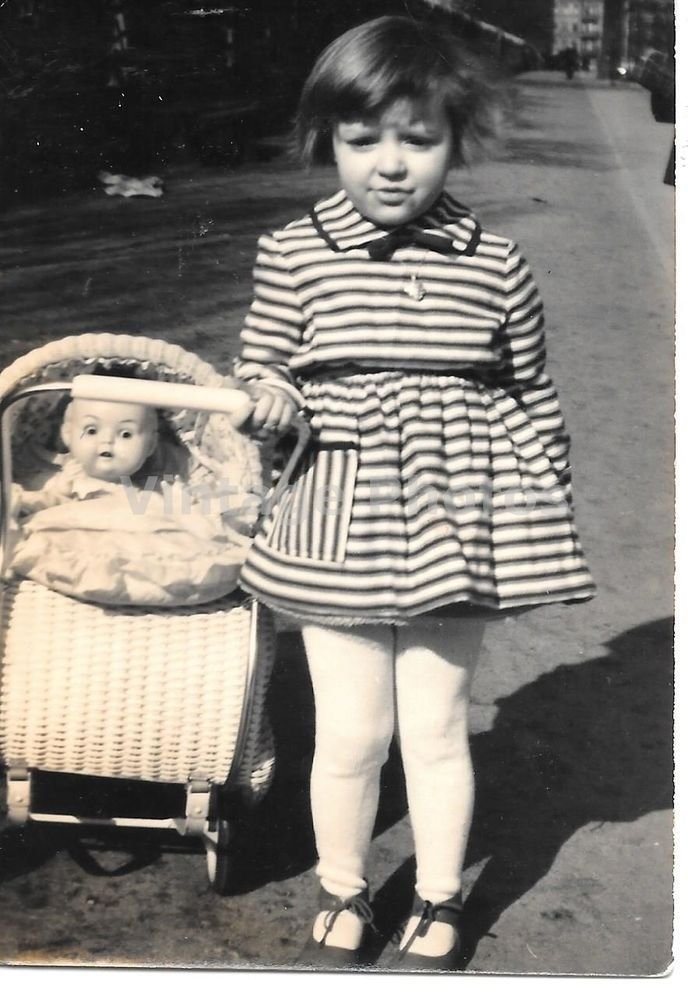 1960's Vintage Photo Cute girl with doll and buggy