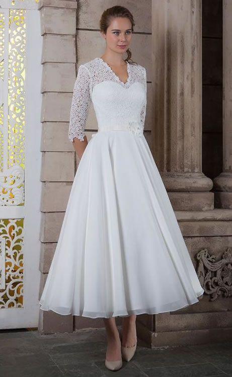White Rose Bridal Tea Length Wedding Dress With Sleeves 2016