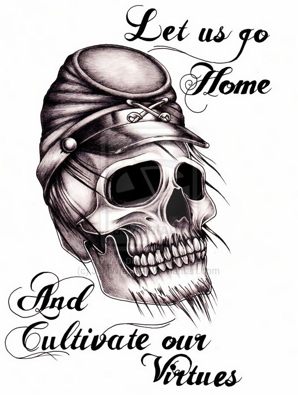 civil war tattoo design let us go home and cultivate our virtues robert e lee addressing. Black Bedroom Furniture Sets. Home Design Ideas