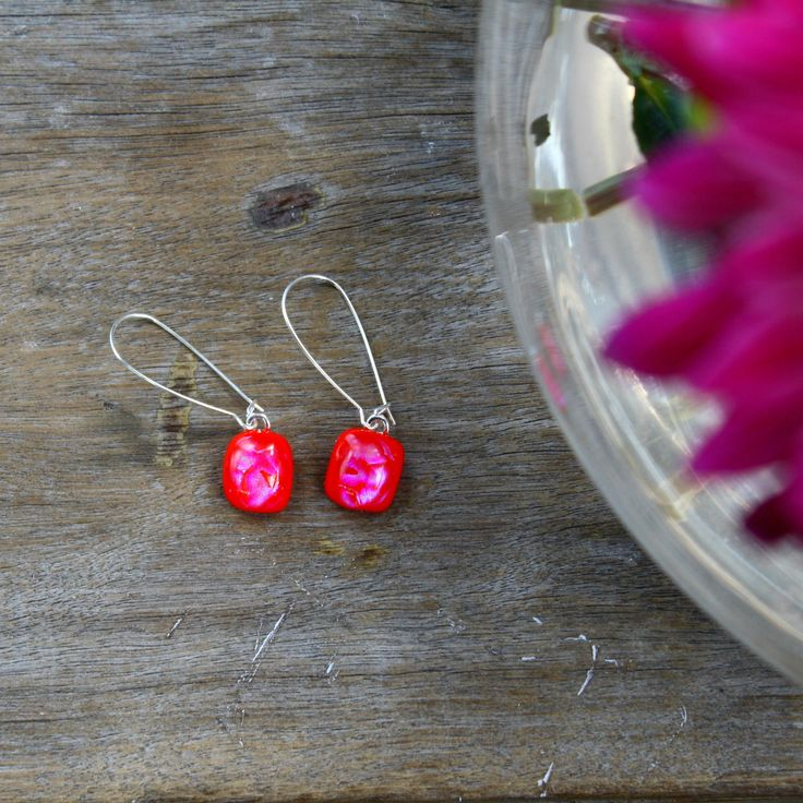 Melted by Suzanne. Dichroic fused glass drop earrings.