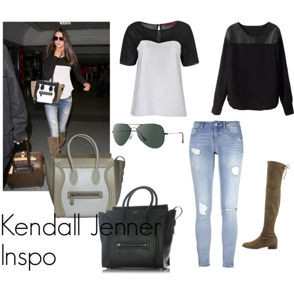 Kendall jenner inspo by louisesandstroms on Polyvore featuring Boohoo, Stuart Weitzman, CÉLINE and Ray-Ban