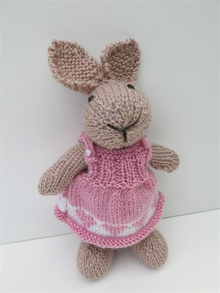 Lucy the Knitted Easter Bunny Rabbit Toy with Pink Sweetheart Party Dress