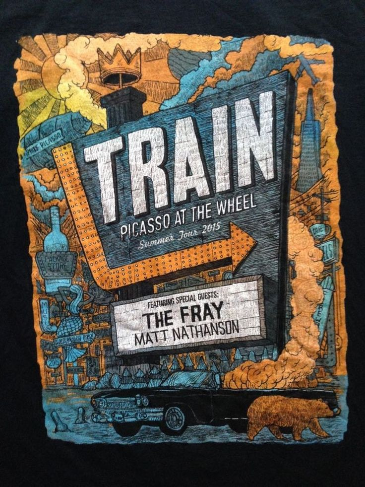 Train /The Fray - Picasso At The Wheel 2015 Tour T-Shirt - Black Sz. Lg - EUC #FruitoftheLoom #GraphicTee