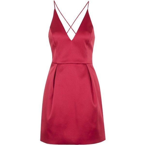 TOPSHOP Plunge Neck Satin Dress ($110) ❤ liked on Polyvore featuring dresses, short dresses, vestidos, red, fitted dresses, fancy dresses, fancy cocktail dresses, women dresses and short red cocktail dress