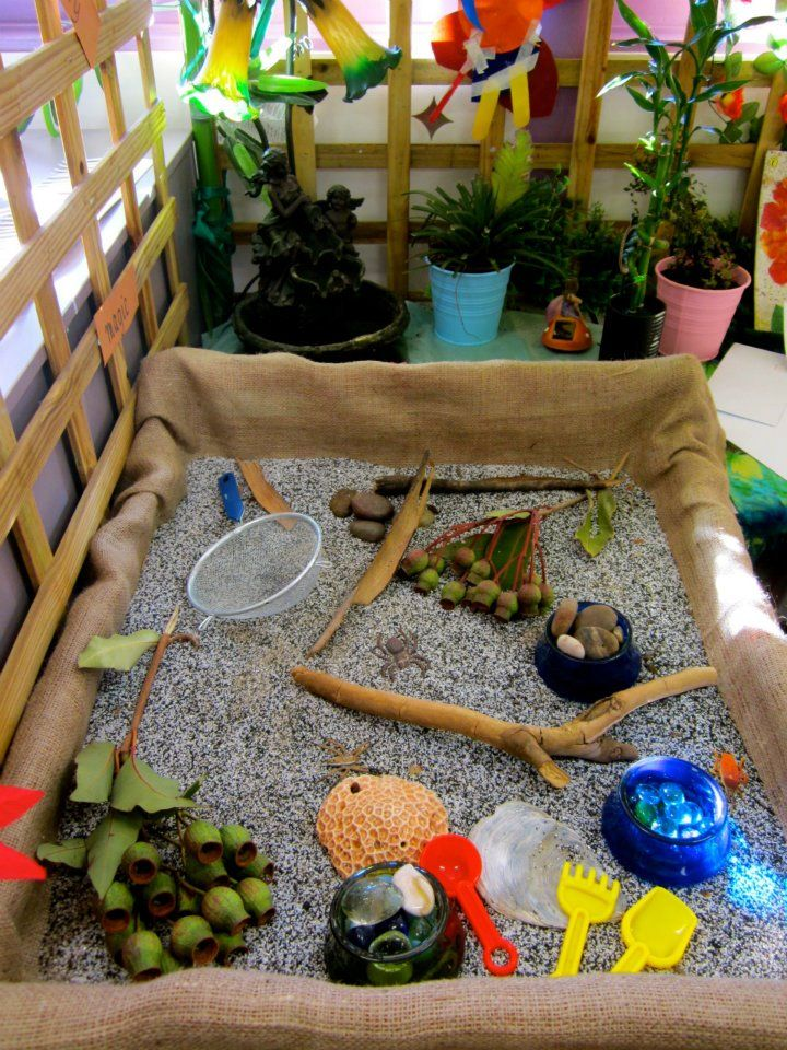 sand table container wrapped up in burlap sensory experience with natural and loose materials at sandringham primary school