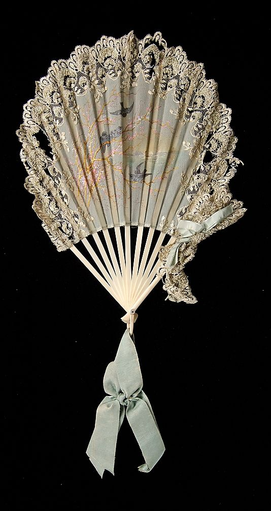 Fan Made Of Ivory, Silk And Mother Of Pearl - French  c.1880-1889 The Metropolitan Museum Of Art