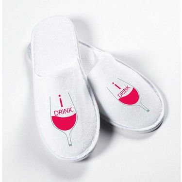 """a pair of official """"Sipping with slippers """" wine slippers - yes we drink www.sippingwithslippers.com"""