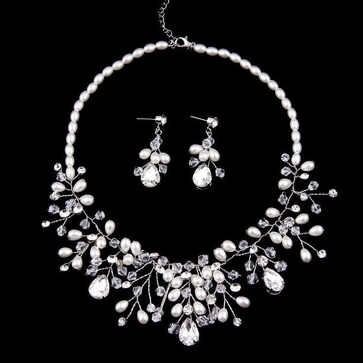 Luxury Wedding Bridal Jewelry Sets Statement Necklace Earrings