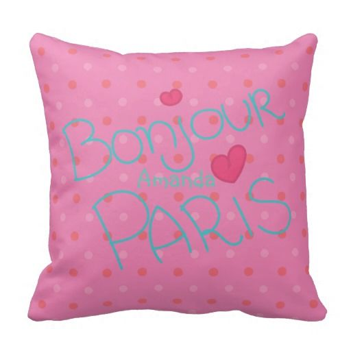Girl's Pink Paris Theme Personalized Pillow