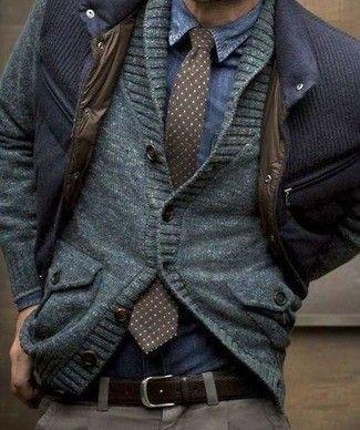 Men's Blue Denim Shirt, Charcoal Polka Dot Tie, Grey Shawl Cardigan, Navy Bomber Jacket, Brown Leather Belt, and Grey Dress Pants