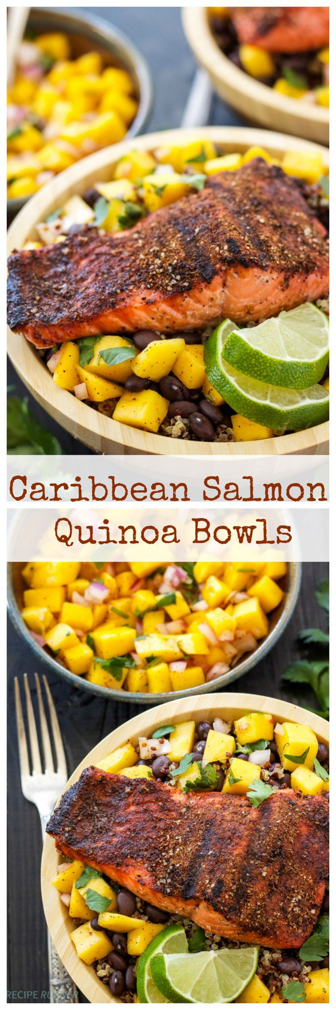 Caribbean Salmon Quinoa Bowls   Caribbean spice rubbed salmon on top of quinoa, black beans, and fresh mango salsa!
